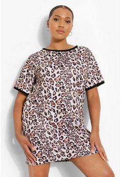 Plus Leopard Ringer T-shirt Dress, Brown