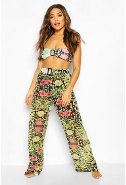 Pantalones playeros con hebilla y estampado animal tropical Petite, Negro