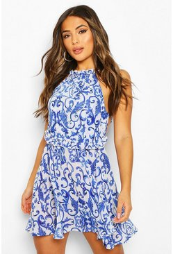 Blue Petite Chain Print Halterneck Mini Beach Dress