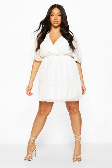 Ivory Plus Dobby Mesh Angel Sleeve Dress