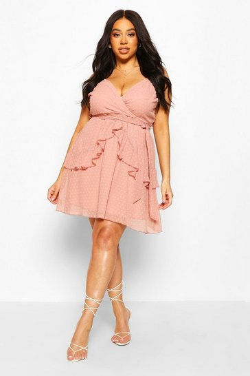 Blush Plus Dobby Mesh Ruffle Skater Dress
