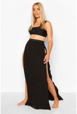 Black Plus Thigh Split Beach Maxi Skirt
