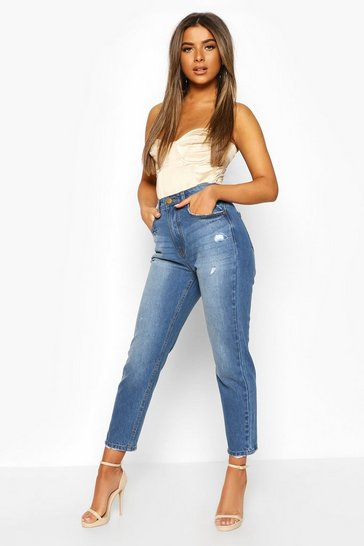 Mid blue Petite Distressed Hem Straight Leg Jeans