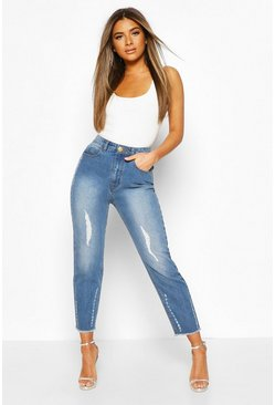 Light blue Petite Distressed Straight Leg Jeans