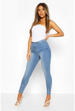 Light blue Petite Distressed Hem Skinny Jeans