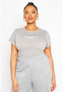 Plus Essential Bodysuit, Grey