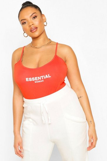 Orange Plus Essential Strappy Bodysuit
