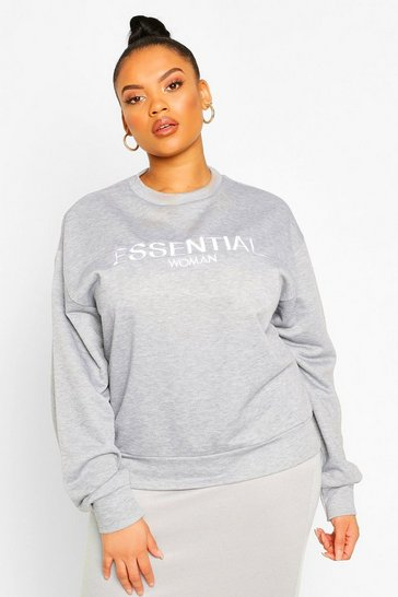 Grey Plus Essential Embroidered Sweatshirt