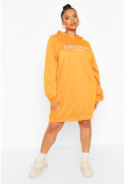 Plus Essential Sweat Dress, Orange