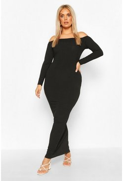 Black Plus Jumbo Rib Off The Shoulder Maxi Dress
