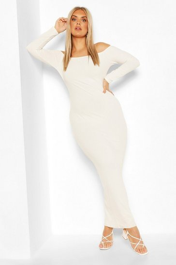 Ecru Plus Jumbo Rib Off The Shoulder Maxi Dress