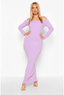 Lilac Plus Jumbo Rib Off The Shoulder Maxi Dress