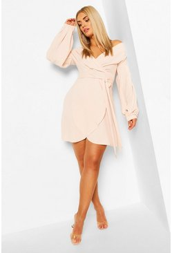 Blush Plus Off The Shoulder Wrap Dress