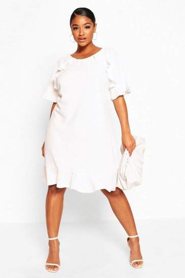 Ivory Plus Ruffle Detail Shift Dress