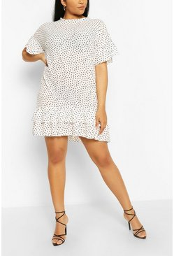 White Plus Polka Dot Ruffle Shift Dress
