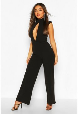 Black Petite Power Shoulder Cut Out Jumpsuit
