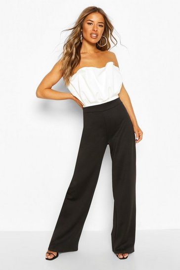 Black Petite Colour Block Bandeau Jumpsuit