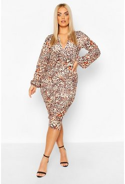 Plus Leopard Ruched Plunge Midi Dress, Brown