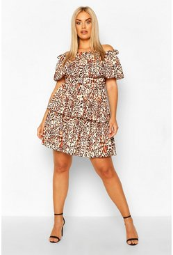 Plus Leopard Bardot Ruffle Skater Dress, Brown