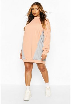 Coral Plus Colour Block Sweat Dress