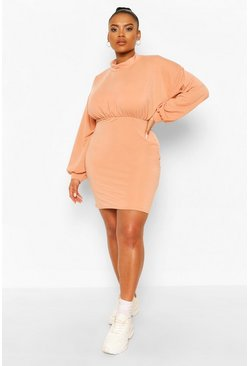 Coral Plus High Neck Puff Sleeve Sweat Dress