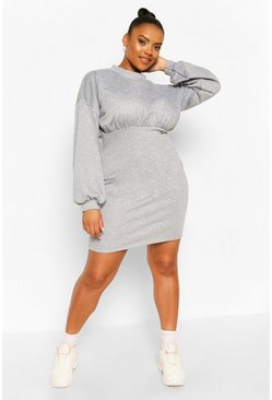 Grey Plus High Neck Puff Sleeve Sweat Dress