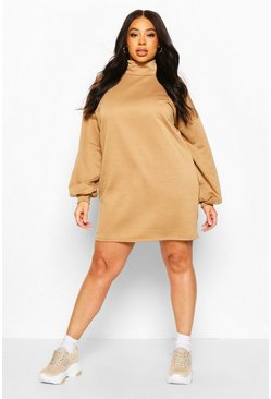 Camel Plus High Neck Deep Cuff Sweat Dress