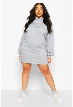 Grey Plus High Neck Deep Cuff Sweat Dress