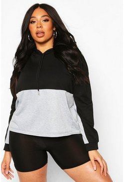 Black Plus Colour Block Hoodie