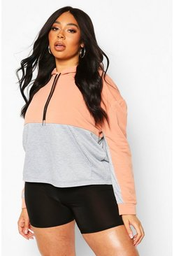 Coral Plus Colour Block Hoodie