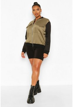 Khaki Plus Contrast Sleeve Pocket Detail Bomber Jacket
