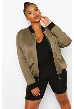 Khaki Plus Pocket Detail Bomber Jacket