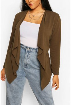 Plus Tie Belt Waterfall Duster, Khaki
