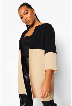 Stone Plus Contrast Panel 3/4 Sleeve Duster