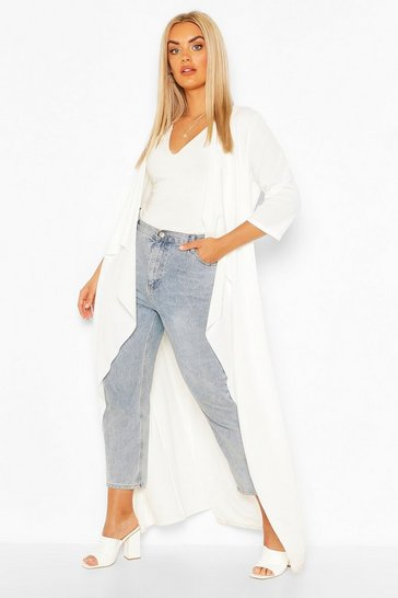 Ivory Plus Waterfall 3/4 Sleeve Maxi Duster