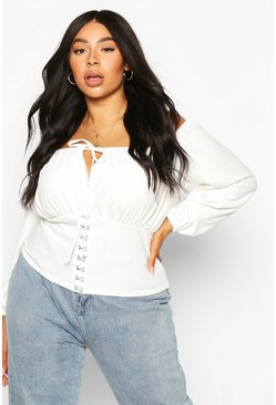 Plus Hook & Eye Ruched Bardot Top, White