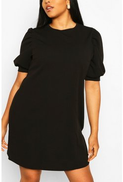 Plus Puff Sleeve Shift Dress, Black