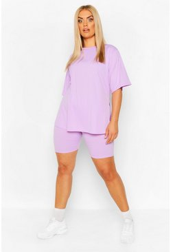 Plus Side Split Top & Cycling Short, Lilac