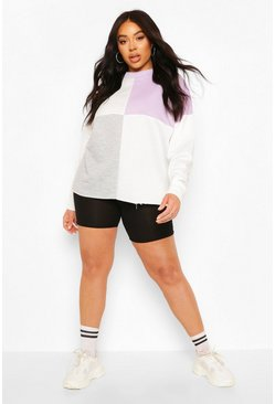 Lilac Plus Colour Block Sweat