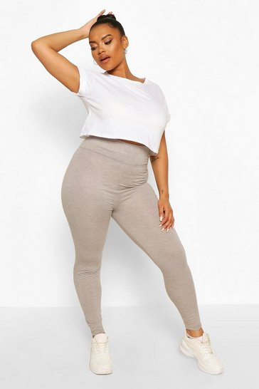 Grey Plus Basic High Waist Tonal Legging