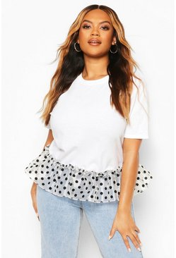 Plus Organza Spot Smock T-Shirt, White