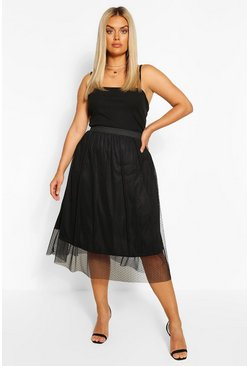 Black Plus Dobby mesh Midi Skater Skirt