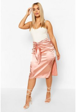 Dusky pink Plus Tie Front Split Side Satin Midi Skirt