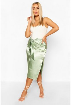 Sage Plus Tie Front Split Side Satin Midi Skirt