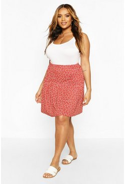 Spice Plus Polka Dot Ruffle Skater Skirt