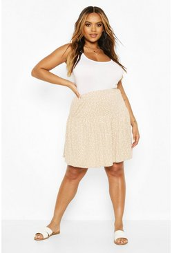 Stone Plus Polka Dot Ruffle Skater Skirt
