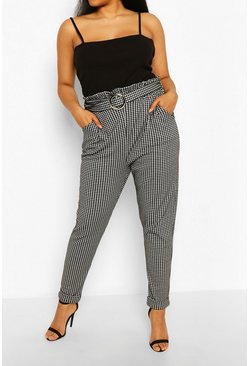 Grey Plus Gingham Belted Tailored Check Trouser