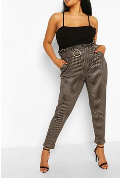 Stone Plus Gingham Belted Tailored Check Trouser