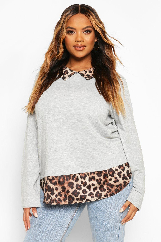 Plus Leopard Contrast Collar Detail Top 8