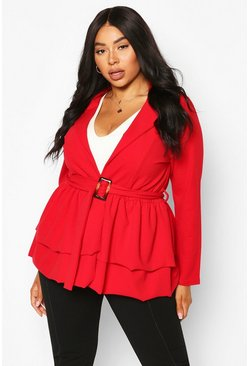 Red Plus Self Belt Ruffle Hem Blazer